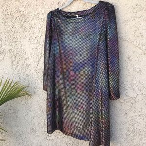 Free People 🌈 Metallic Dress with puff sleeves